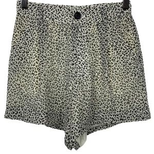 NWT Calvin Luo Animal Print Shorts in White/Black